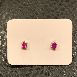 Natural ruby post earrings 925 silver